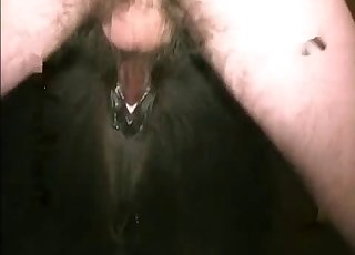 Hot man is toying with a tight anal hole of a horse